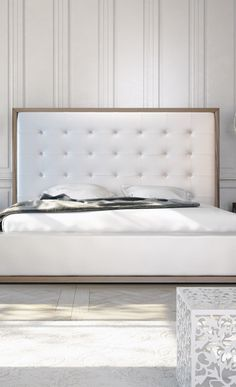 Modern white, bed - leather elegant design bed