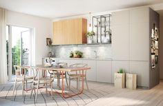 Tobin Properties #tobinproperties  Vintergatan, Sundbyberg, kök, köksskåp i alm, köksvitrin, pin it-vägg, balkong