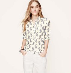 Petite Paisley Softened Shirt | Loft