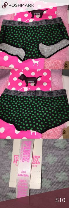 NWT VS PINK logo BoyShorts Large New with Tags ST Patrick's Logo BoyShorts size large.    Fabric is 91% cotton and 9% elastane PINK Victoria's Secret Intimates & Sleepwear Panties