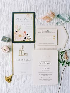 Elegant letterpress invitation suite: Photography : Lauren Kinsey Read More on SMP: http://www.stylemepretty.com/2016/07/21/seaside-florida-little-white-chapel-wedding/