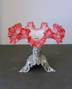 Victorian Ruffled Cranberry Crackle Glass Brides Basket…By Antique Chic LLC posted to Vintage&Antiques community on G+.