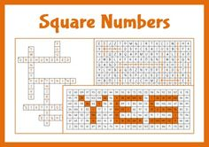 Activities related to square numbers including a word search, cross world and colouring square numbers to reveal a word.