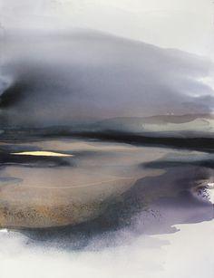 """""""Sandy Plains""""  Watercolor, Ink, Pigments, Gouache, Pencil and Gold Leaf 23Kt on Cotton Paper  Size: 30"""" x 42"""" (107 cm x 75 cm)  Sabrina Garrasi"""