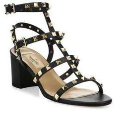 Valentino Rockstud Leather Block Heel Sandals