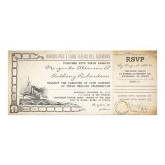 vintage wedding invitations with RSVP - old boarding pass style. Beautiful boat drawing.