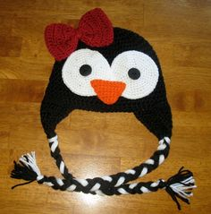 crochet penguin hat.. seen lots of owl hats, but never before this one!