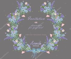 Download royalty-free Wreath with the floral design; elements of the lavender, cornflower, forget-me-not and eustoma flowers, hand-drawn in a watercolor; decoration for a wedding, greeting card on a grey background stock photo 104558796 from Depositphotos collection of millions of premium high-resolution stock photos, vector images and illustrations.