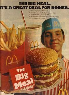 1970s food | McDonald's Big Mac, a very large order of fries and a great big ...