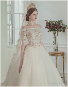 """""""Clara Wedding Bridal Collection Even the simplest wedding dress has its unique embellishments to make it shine. Other than picking the right silhouette that flatters a bride's body shape, often times. Stunning Wedding Dresses, Rustic Wedding Dresses, Modest Wedding Dresses, Lace Weddings, Tulle Wedding, Bridal Dresses, Trendy Wedding, Gift Wedding, Mermaid Wedding"""