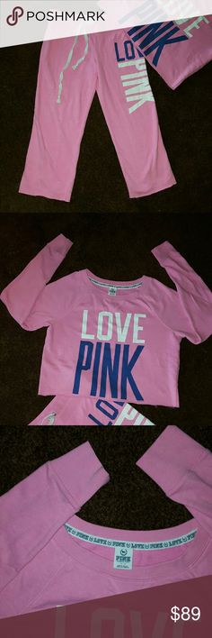 PINK  VICTORIA'S  SECRET, CAPRI - CROPPED  SET EUC SMALL AREA ON CUFFS NOT SURE IF IT WILL WASH OUT. TOP M/M CAPRI'S- XSMALL BOTH TOP AND BOTTOMS  ARE RAW EDGED HEMS PINK Victoria's Secret Tops Sweatshirts & Hoodies
