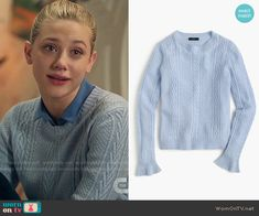 Betty's blue cable knit sweater on Riverdale. Outfit Details: https://wornontv.net/67038/ #Riverdale