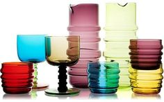 I Love colored glass! Marimekko/Anu Penttinen tablewear at Crate & Barrel