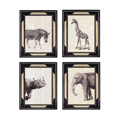 AFRICAN ANIMALS SAFARI art print on vintage dictionary page zebra elephant giraffe rhinoceros rhino wall art black white woodland. $26.00, via Etsy.