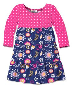 Look at this Pink & Navy Floral A-Line Dress - Toddler & Girls on #zulily today!