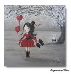 "Tableau ""A quoi ça sert l'Amour"" - Acrylique sur toile 40x40 cm - 80 € Deco, Snoopy, Etsy, Vintage, Painting, Fictional Characters, Art, Canvases, Handmade Gifts"