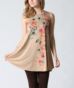 Look what I found on #zulily! Taupe Floral Sublimation Swing Tunic #zulilyfinds