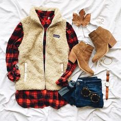 Patagonia vest with a plaid button down makes an easy Winter outfit