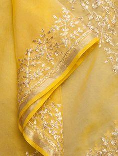 Beautiful Gold Yellow-Golden Zari n gota Embroidered Organza Saree, Chiffon Saree, Saree Dress, Cotton Saree, Dress Indian Style, Indian Dresses, Indian Outfits, Pakistani Dresses, Jute