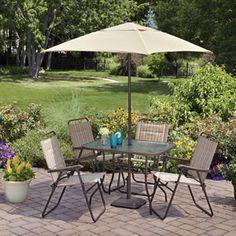Mainstays Glenmeadow 6-Piece Folding Patio Dining Set with Umbrella, Dune, Seats 4