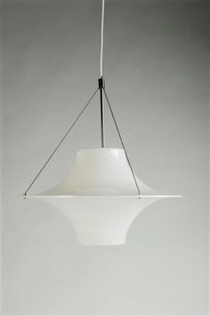 Yki Nummi; Acrylic and Steel 'Skyflyer' Ceiling Lamp, 1960.