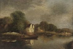 Cottages Along A River Bank - (John Sell Cotman)