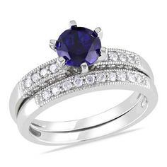 6.0mm Lab-Created Blue Sapphire and 1/3 CT. T.W. Diamond Bridal Set in 10K White Gold