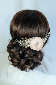 champagne bridal hair flower champagne flower wedding by TopGracia