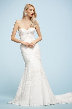 Just arrived at Lilla's Bridal...  Watters Brides Fabienne Gown. Exquisite lace enhances this fit and flare gown.