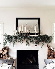 / vintage candlesticks and greenery