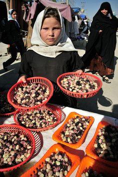 children selling berries, Kabul, Afghanistan