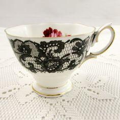 Royal Albert Orphan Tea Cup, Senorita, Black Lace with Red Rose Tea Cup, Replacement Tea Cup, Teacup ONLY, No Saucer