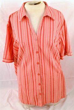 Liz & Me Woman's Size 3X 26/28W Short Sleeve 100% Cotton Blouse