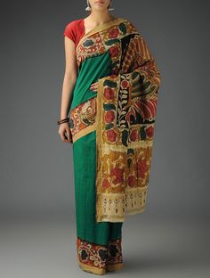 Buy Green Beige Multicolor Cotton Hand Painted Kalamkari Saree Sarees Printed Narratives Concept and Stoles in Art Online at Jaypore.com