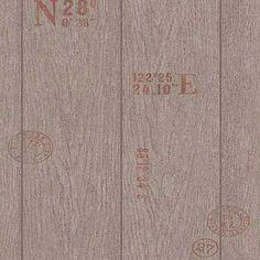 Papel pintado imitación embalaje madera marrón PDW9694511