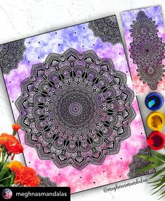 Mandala Art, Watercolor Mandala, Design Mandala, Mandala Canvas, Mandala Drawing, Doodle Art Drawing, Painting & Drawing, Art Abstrait Ligne, Abstract Line Art