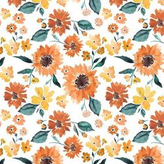Orange Floral Baby Bedding | Fall Flowers Orange Yellow Crib Sheet Changing Pad Cover Boppy Cover Ca