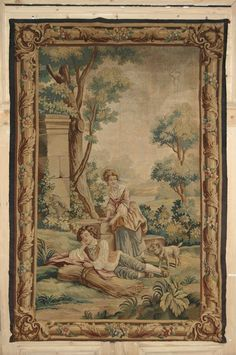 Antique 19th Century Aubusson Tapestry.  Hand woven in the Aubusson traditions, this superbly preserved tapestry depicts an idyllic setting peopled by a young man resting during the wheat harvest, tended by his lady and faithful canine companion. Colorful border remains intact, and superb artistry is displayed from the background to the minute details of the foliage in the immediate foreground.   Circa 1870s.