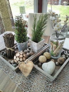 Meine Deko auf dem Tisch im Wintergarten