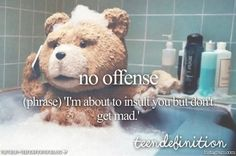 no offense: 'I'm about to insult you but don't get mad.'