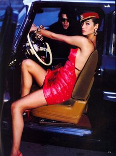 Vogue US September 1990  REDS  Photographer: Arthur Elgort  Model: Christy Turlington  Fashion editor: Grace Coddington