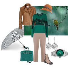 Rainy day greens by maria-kuroshchepova on Polyvore featuring Nikos Nicolaou, Kaliko, Hermès, Cabochon, MARC BY MARC JACOBS, Grace Hats and rainydaylook