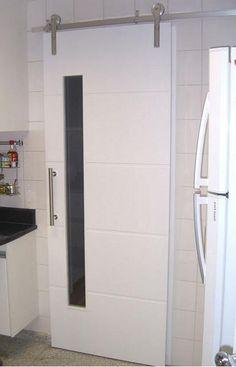 portas de correr de madeira para cozinha