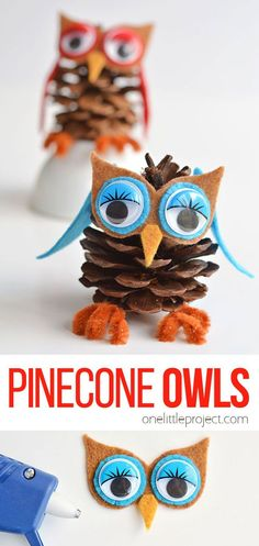 These pinecone owls are SO FUN and they are so easy to make! You can make 3 or 4 in about 10 minutes. And best of all, you can get all the supplies at the dollar store! This is such a fantastic craft for fall and a super cute idea for homemade Christmas ornaments! Pinecone Owls, Pinecone Ornaments, Owl Ornament, Christmas Crafts For Gifts, Christmas Ornaments To Make, Homemade Christmas, Christmas Ideas, Snow Activities, Pipe Cleaner Crafts