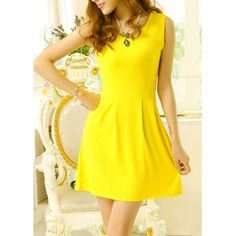 Solid Color Sleeveless V-Neck Wide Hem Nipped Waist Slimming Dress For Women
