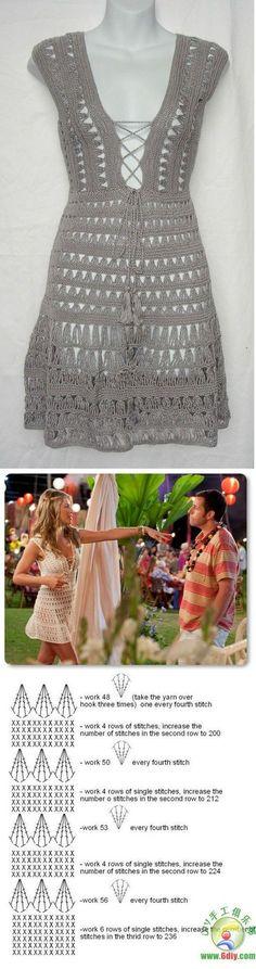 Vestidos de playa combinados en tela y crochet » Útiles de Mujer