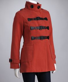 Rust Buckle Mock Neck Peacoat   Daily deals for moms, babies and kids