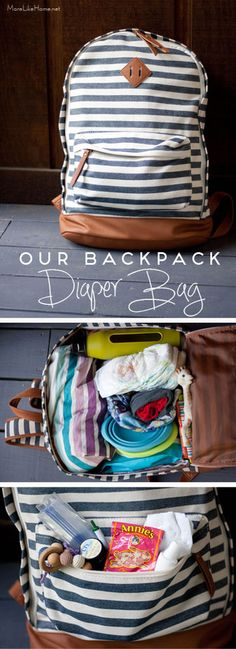 A peek inside our back pack diaper bag why we use it and what we pack in it! - Diaper Bags - Ideas of Diaper Bags Backpack Hacks, Best Backpack Diaper Bag, Diaper Bag Purse, Boy Diaper Bags, Buy Backpack, Baby Bags, Backpacking For Beginners, Diaper Bag Organization, Diaper Changing Pad