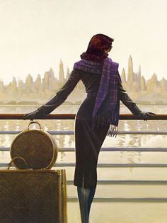 """Leaving the city"" Peinture de l'artiste écossais contemporain Jack Vettriano"