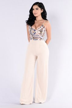 - Available in Taupe - Jumpsuit - Sequin Top - Wide Leg Bottom - Adjustable Spaghetti Straps - Tie Back - Polyester Sexy Outfits, Summer Outfits, Cute Outfits, Fashion Outfits, Womens Fashion, Elegantes Outfit, Jumpsuits For Women, African Fashion, Passion For Fashion